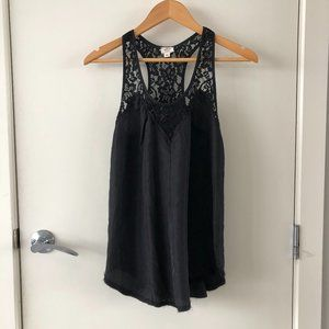 Aritzia Wilfred Silk + Lace Black Racerback XXS